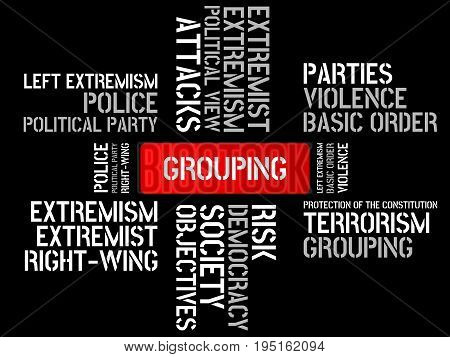 Grouping - Disarrangement - Image With Words Associated With The Topic Extremism, Word, Image, Illus