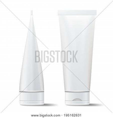 Tube Vector Mock Up. Cosmetic White Plastic Tube Packaging Realistic Illustration. Isolated On White Background