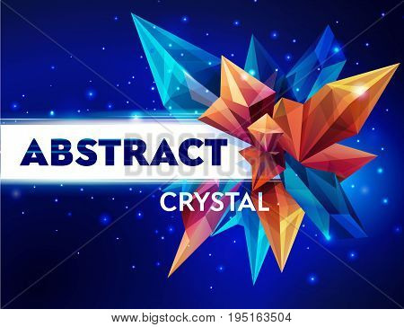 Template for design. Image of a faceted crystal. Glass asteroid in outer space. Abstract geometric figure on a dark blue. Futuristic banner. 3D style illustration. Vector illustration