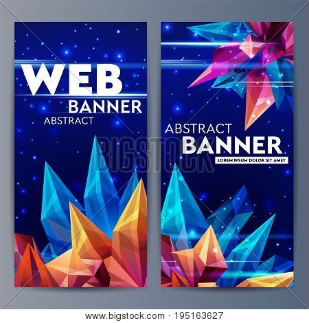 Web banners with faceted crystals. Glass asteroid in outer space. Abstract geometric figure origami on a dark blue. Futuristic banner. 3D style illustration. Vector illustration