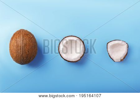 Hawaiian coconuts on a bright light blue background. Coconut cut in perfect white pieces. Delicious exotic nuts. Fresh brown coconut full of healthful vitamins.