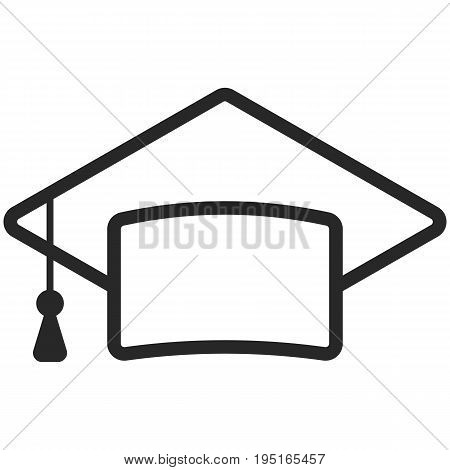 Simple Vector Icon of a classic graduate cap in line art style. Pixel perfect. Basic education element.  School theme. Back to college.