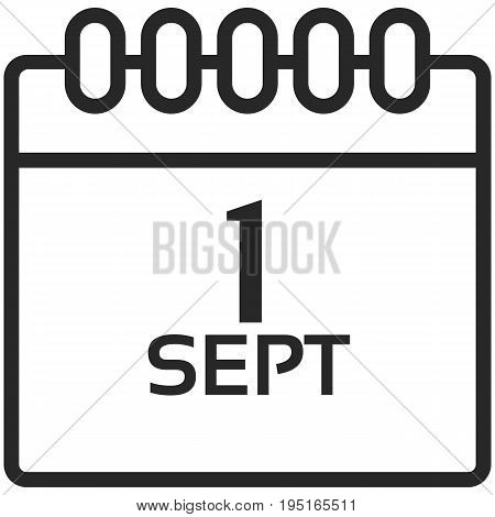 Simple Vector Icon of a classic calender for first of september in line art style. Pixel perfect. Basic education element. School theme. Back to college.