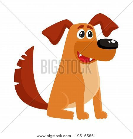 Cute brown funny house dog, puppy character sitting with friendly expression, cartoon vector illustration isolated on white background. Funny dog, puppy character sitting