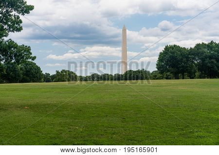 Washington Monument on a clear summer day in Washington DC, United States of America