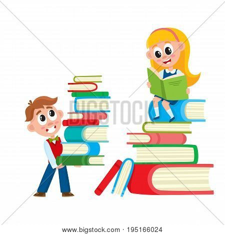 Little girl reading, sitting on huge pile, stack of books, cartoon vector illustration isolated on white background. Girl reading on a tall stack of book, back to school, learning, studying concept