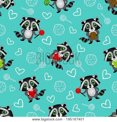 Cute Kids Pattern For Girls And Boys. Colorful Raccoon On The Abstract Grunge Background Create A Fu