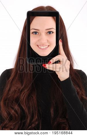 Portrait smiling teenage girl with digital tablet making selfie isolated on white