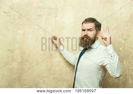 Teacher, Man With Beard On Serious Face Write With Chalk