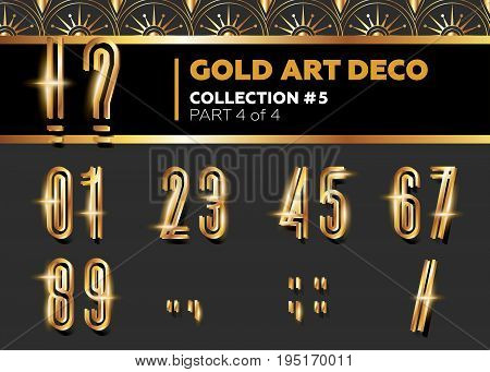Vector Art Deco 3D Font. Shining Gold Retro Alphabet. Gatsby Style. Metallic Vintage Letters for Poster Placard Flyer Party Wedding Invitation Banner.