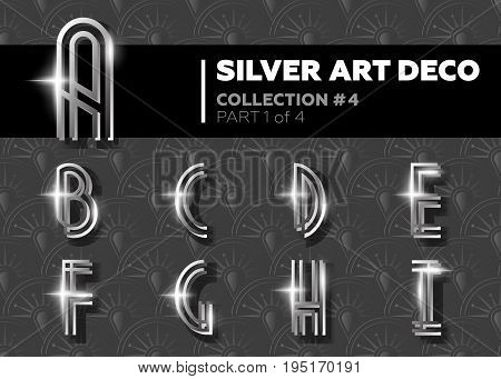 Vector Art Deco Font. Shining Silver Retro Alphabet. Gatsby Style. Metallic Vintage Letters for Poster Placard Flyer Party Wedding Invitation Banner.