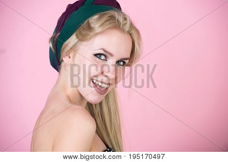 Woman With Turban And Makeup On Pink, Pinup