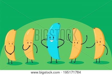 Minimalist stile blue banana changing color and yellow ones. New idea, change, trend, courage, creative solution, innovation and unique way concept. Vector illustration