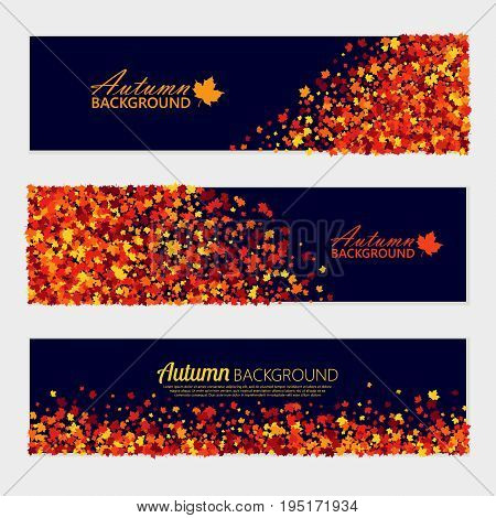 Vector horizontal autumn banners set with scattered maple leaves for different design projects. Isolated