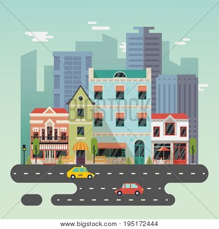 City or town landscape with buildings and road, houses with cafe or restaurant, bistro. Urban midtown with taxi car and bicycle, skyscrapers exterior view. Construction panorama and architecture