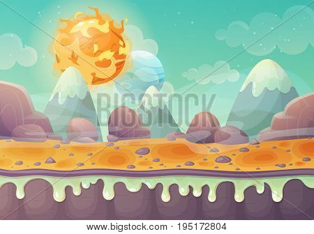 Galaxy or cosmos planet landscape with flying star or comet, mountain and stone soil or terrain with craters. Cartoon illustration of satellite relief. Sci-fi and astronomy, solar astrology theme