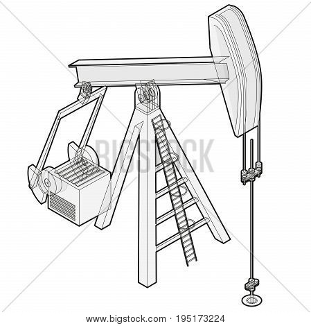 Oil extraction pump. Outlined oil well industry production, oilfield equipment. Mining equipment typical of Texas and USA. Industrial self-propelled machine. Isolated master wire vector illustration.