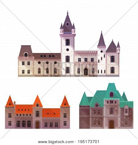 Towers on old castles with gates and turrets, wide gates and stone walls. Defense medieval structure icon, exterior front view on fort or palace, residence.History book illustration, architecture theme