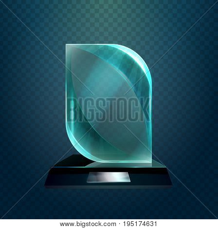 Glass square cup with round corners or transparent glassware trophy award, prize or achievement glossy crystal. Championship and leadership, sport sign or success symbol, winner ceremony or champion