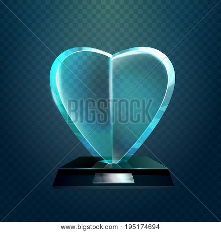 Glassware trophy or winner prize in form of heart shaped symbol. Love of public symbol, glass cup or trophy for achievement or championship. Sport sign, success banner, leadership for competition theme