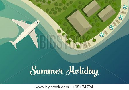 Tropical island beach or paradise isle top view with plane or jet aircraft, bungalow and umbrellas on beach. Lagoon and bay on isle, land in sea or ocean. Summer travel or tourism agency theme