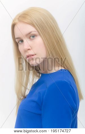 Model With Blond Long Hair And No Makeup On Face