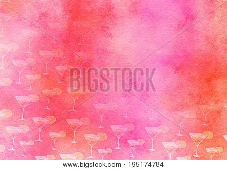 A hand made and artistic textured paper background design using blended watercolour effects and cocktail party drinks.
