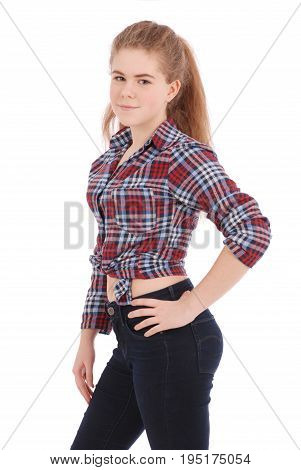 Portrait of a happy pretty girl in plaid shirt isolated on white background