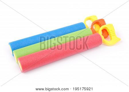 Colorful children water toys isolated on white background