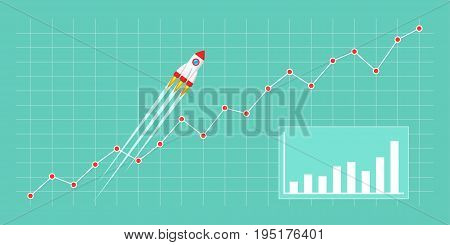 Flat style illustration with spaceship. Rocket flying on chart, graph going up. Business growth concept for Chart, Graph, New Business, Growth, Investment.