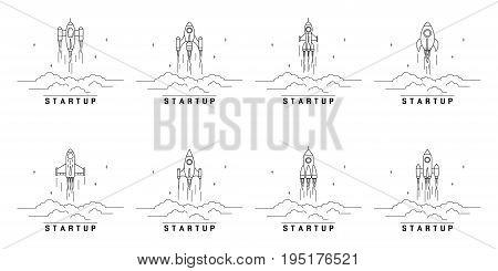 set of flying rockets, business startup banner concept, flat style illustration