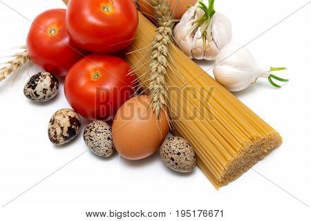 Different food isolated on white background. Horizontal photo.