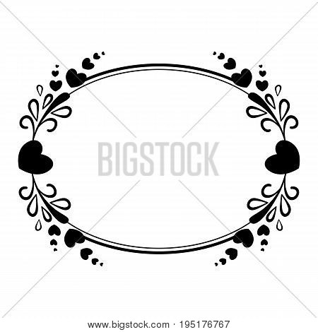 Elegant black and white oval frame with a silhouette of hearts and decorative elements for the design of brochures booklets wedding albums invitations and other festive products.