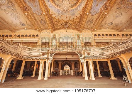 MYSORE, INDIA - FEB 17, 2017: Interior of Audience Hall with artworks of the royal Palace of Mysore built in 1912 on February 17, 2017. With population 900000 Mysore is the cultural capital of Karnataka