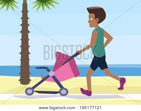 man jogging with baby carriage at seashore - funny vector cartoon illustration