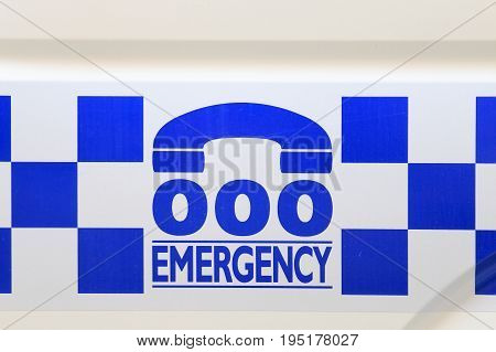 MELBOURNE AUSTRALIA - JUNE 30, 2017: Australian Police emergency contact number. Australian Police is responsible for safety of Australian residence.