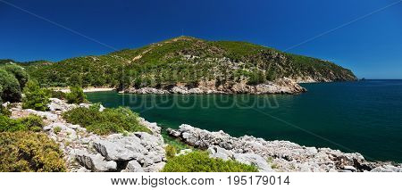 Beautiful lagoon at Thassos island, Greece.