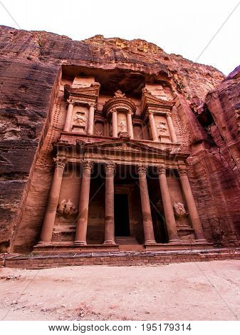 The Monastery a building carved out of rock in the ancient Petra Jordan