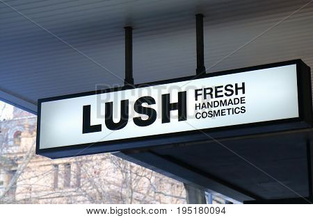MELBOURNE AUSTRALIA - JUNE 30, 2017: Lush cosmetics shop. Lush is a British cosmetics retailer founded in 1995.