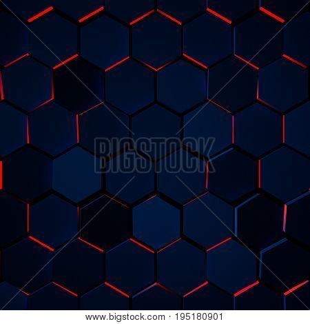 Dark Glowing Hexagon Background