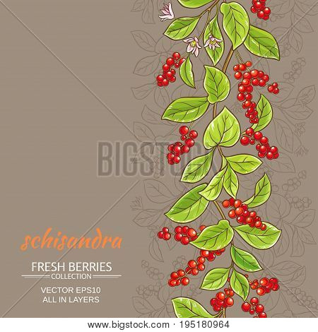 schisandra berries vector pattern on color background