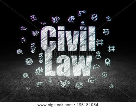 Law concept: Glowing text Civil Law,  Hand Drawn Law Icons in grunge dark room with Dirty Floor, black background