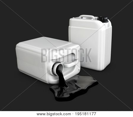 3d illustration of canister of oil. isolated black