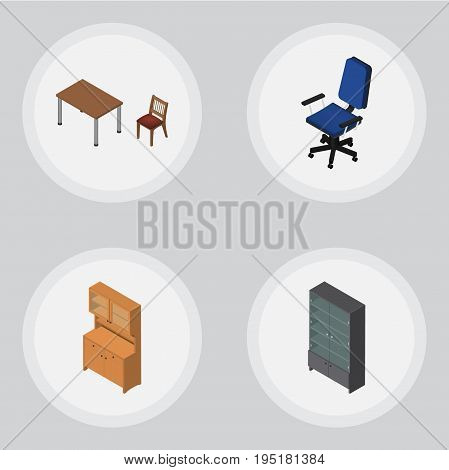 Isometric Furniture Set Of Chair, Cupboard, Sideboard And Other Vector Objects. Also Includes Armchair, Table, Closet Elements.