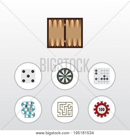 Flat Icon Play Set Of Backgammon, Gomoku, Labyrinth And Other Vector Objects. Also Includes Chip, Backgammon, Multiplayer Elements.