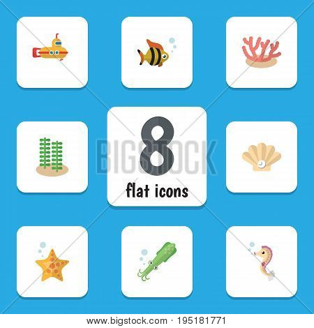 Flat Icon Marine Set Of Sea Star, Seafood, Periscope And Other Vector Objects. Also Includes Tuna, Seashell, Octopus Elements.
