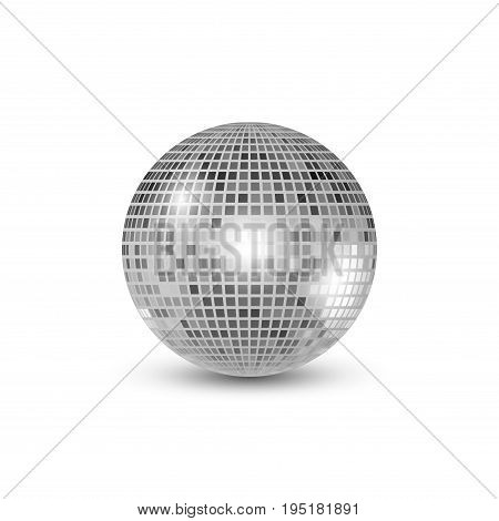 Disco ball isolated illustration. Night Club party light element. Bright mirror silver ball design for disco dance club.