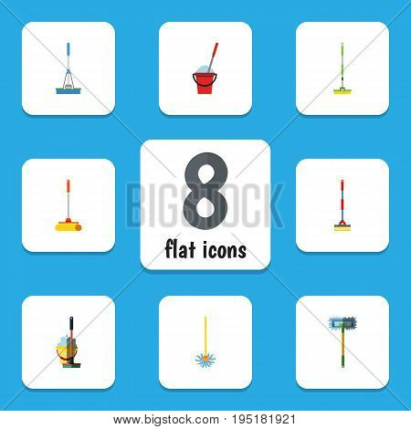 Flat Icon Broomstick Set Of Besom, Sweep, Broomstick And Other Vector Objects. Also Includes Sweep, Besom, Broomstick Elements.