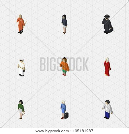 Isometric Human Set Of Girl, Pedagogue, Seaman And Other Vector Objects. Also Includes Female, Lady, Girl Elements.