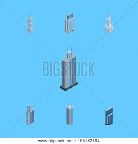 Isometric Construction Set Of Skyscraper, Business Center, Residential And Other Vector Objects. Also Includes Center, Building, Skyscraper Elements.